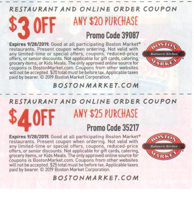 picture regarding Printable Boston Market Coupons identify Boston Marketplace Discount codes and Cost savings