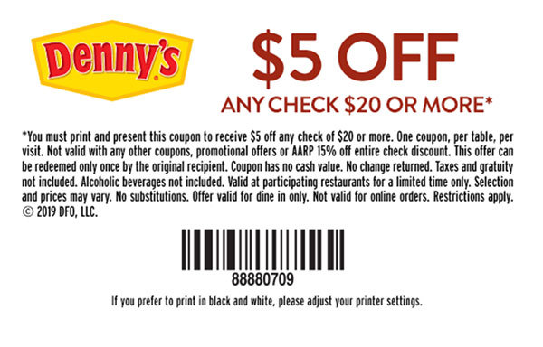graphic relating to Dennys Printable Coupons identify Dennys Coupon codes and Savings