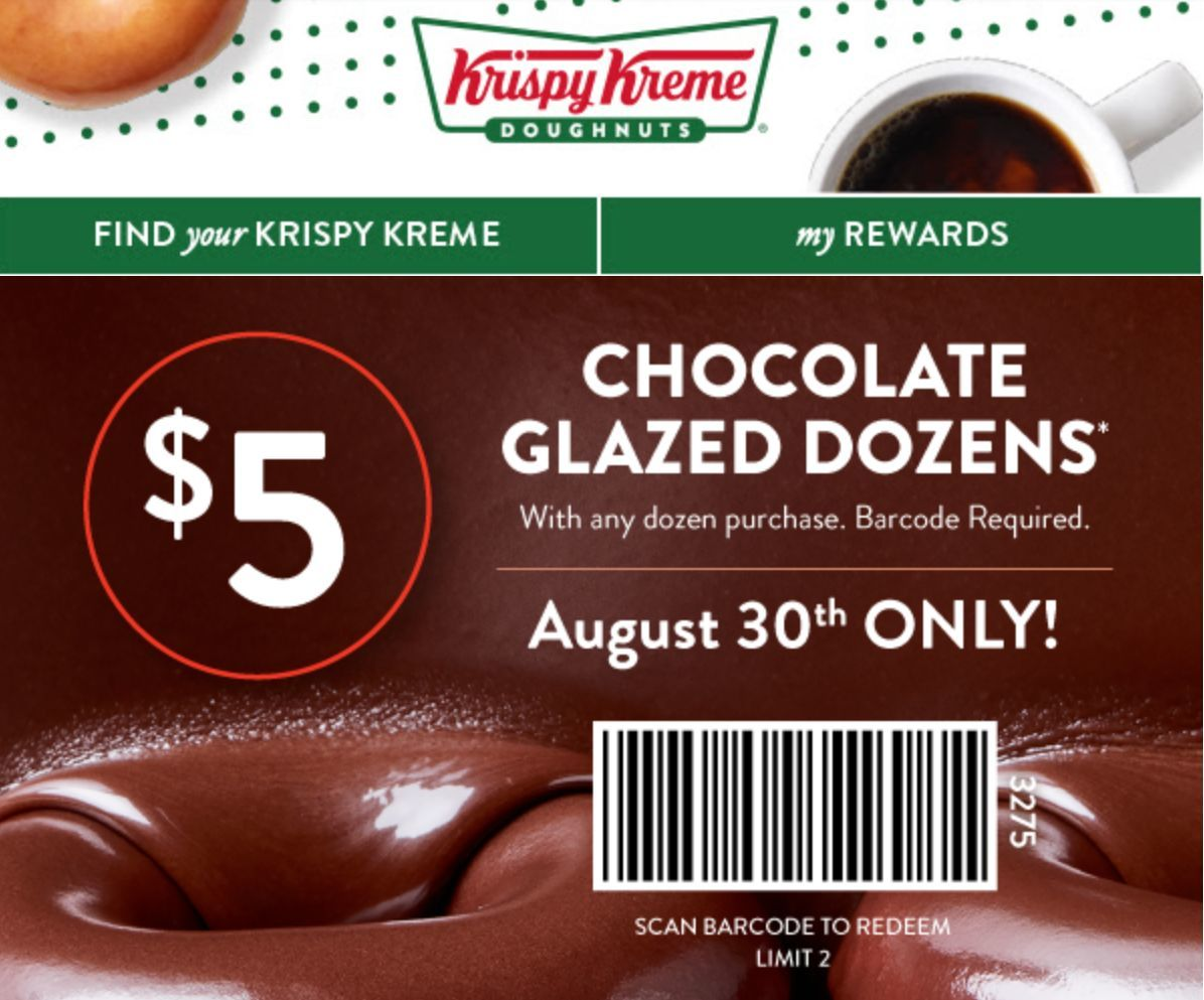 picture about Krispy Kreme Printable Coupons referred to as Krispy Kreme Discount codes and Savings