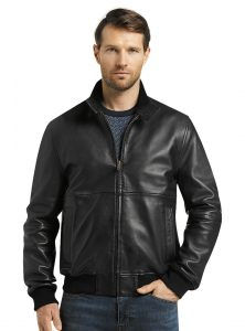 picture of 1905 Collection Tailored Fit Black Lambskin Bomber Jacket Clearance