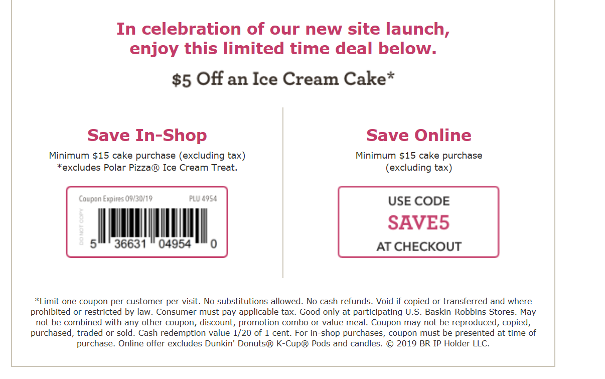 picture about The Limited Printable Coupon named Baskin Robbins Discount codes and Cost savings