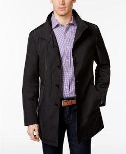 picture of Calvin Klein Men's Slim Fit Black Solid Raincoat Sale