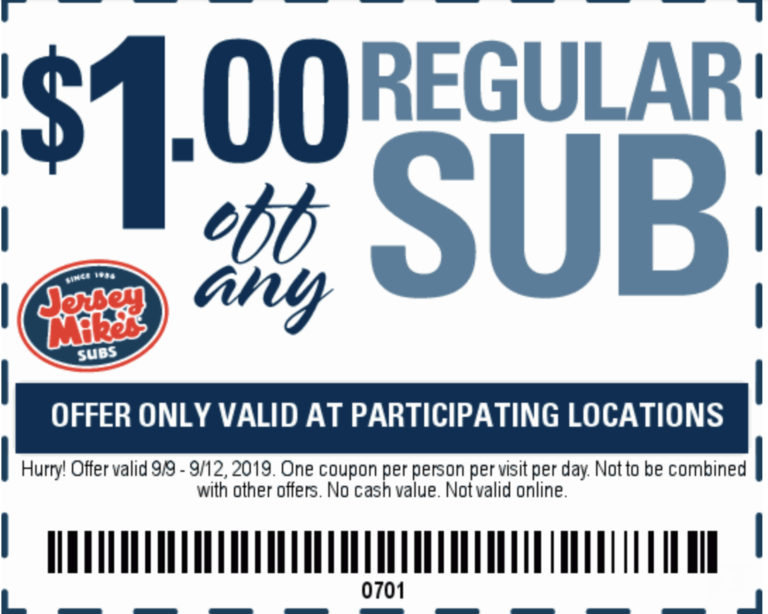 photo about Jersey Mike's Printable Coupon titled Jersey Mikes Subs Coupon codes and Financial savings