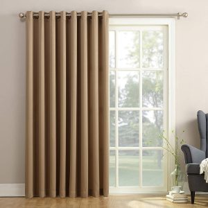 picture of Sun Zero Barrow Extra-Wide Energy Efficient Sliding Patio Door Curtain Panel with Pull Wand, 100