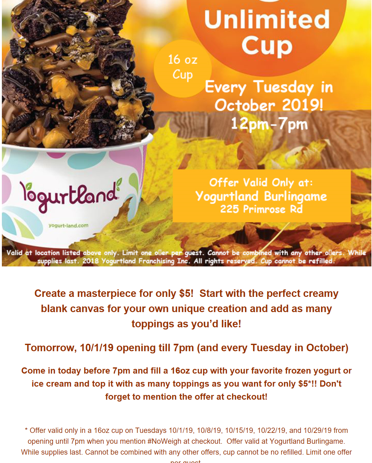 Yogurtland Coupon