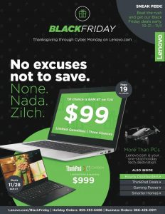 picture of Lenovo Sneak Peak Black Friday Deals Early Sale NOW