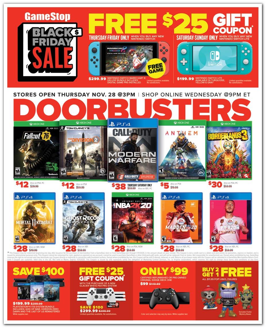 Gamestop Black Friday 2019 Ad