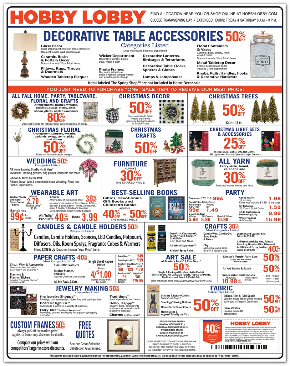 Hobby Lobby Black Friday 2019 Ad