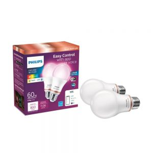 picture of Philips - 2pk. Color and Tunable White A19 LED Light Bulb