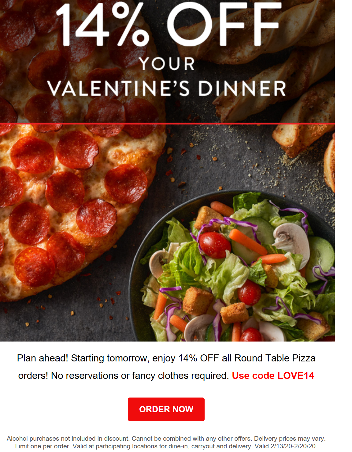 Round Table Pizza Coupon