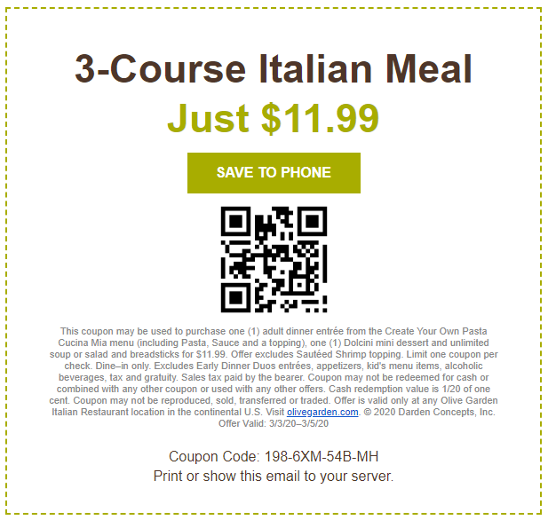 Olive Garden Coupons And Discounts