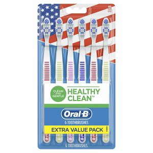 picture of Oral-B Healthy Clean Toothbrushes, Medium Bristles, 6 Count Sale