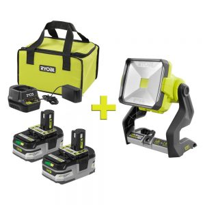 picture of Ryobi 2 Battery Starter Kit with Charger, Bag, Work Light