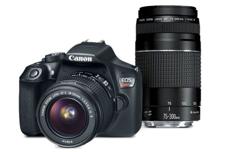 picture of Canon EOS T6 18Mpixel Refurbished Wi-Fi DSLR with 18-55mm, 75-300mm Lens Sale
