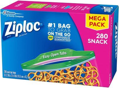 picture of Ziploc Snack Bags, Easy Open Tabs, 280 Count