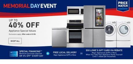 picture of Lowe's Memorial Day Event Up to 40% off Appliance