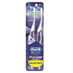 picture of Oral-B Pulsar 3d White Advanced Vivid Soft Toothbrush, Twin Pack, Sale