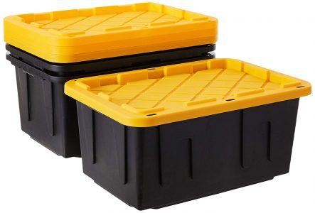 picture of Sterilite 40 Gal. Wheeled Industrial Tote Yellow Lily Case of 2