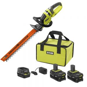 picture of Ryobi 18-Volt ONE+ High Capacity 4.0 Ah Battery (2-Pack) Starter Kit with Charger and Bag with FREE ONE+ Hedge Trimmer