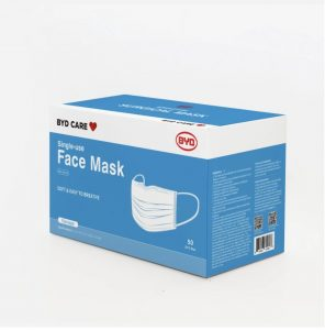 picture of BYD Care 3-Ply Pleated Disposable Face Mask (Pack of 50) Sale