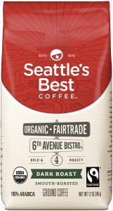 picture of Seattle's Best Coffee 6th Avenue Bistro Fair Trade Organic Dark Roast Ground Coffee, 12-Ounce Bag Sale