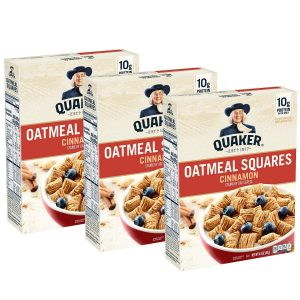 picture of Quaker Oatmeal Squares Breakfast Cereal, Cinnamon, 14.5oz Boxes (3 Pack) Sale