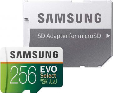 picture of Samsung EVO Select 256GB microSDXC UHS-I U3 Memory Card w/ Adapter Sale