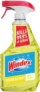 picture of Windex Multi-Surface Cleaner and Disinfectant Spray Bottle, Citrus Fresh Scent, 23 fl oz