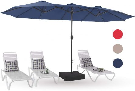 picture of MF Studio Extra Large Outdoor Patio Table Umbrella with Stand Sale