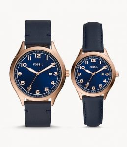 picture of Fossil His and Hers Wylie Navy Leather Watch Box Set Sale