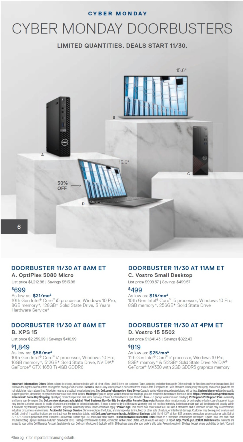 Dell Small Business CyberMonday 2020 Ad
