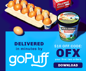 picture of $10 off First 2 GoPuff Food Delivery Orders