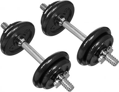 picture of AmazonBasics Adjustable Barbell Lifting Dumbells Weight Set with Case