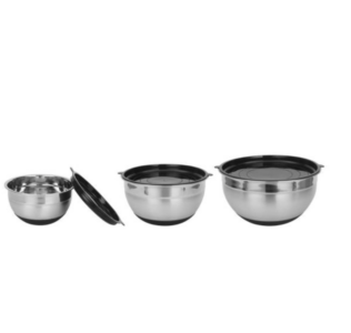 picture of StyleWell 3-Piece Mixing Bowl w/ Lids & Silicone Bottom
