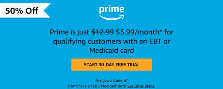 picture of 50% off Amazon Prime for EBT or Medicaid