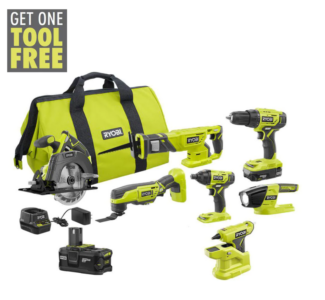 picture of Expiring Today: Ryobi ONE+ 18V Cordless 6-Tool Combo Kit Sale