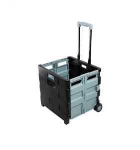 picture of Staples 30 Qt. Black Durable Expanding Folding Crate on Wheels Sale