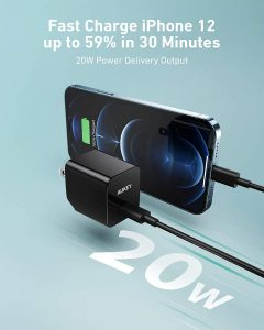 picture of AUKEY USB C Charger, Fast Charger 20W - iPhone, Airpods Pro, Switch, MacBook, etc