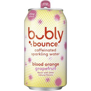 picture of bubly Bounce Caffeinated Sparkling Water, Blood Orange Grapefruit, 12oz Cans (18 Pack)