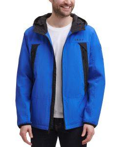 picture of DKNY Men's Regular-Fit Hooded Rain Jacket Sale