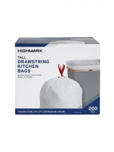 picture of Highmark Tall Drawstring Kitchen Trash Bags 13 gallon 200 Count