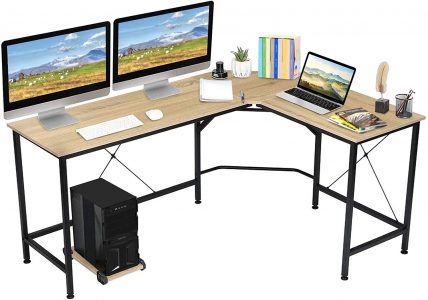 picture of KingSo L Shaped Computer Desk with CPU Stand Sale
