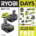 picture of 2-Pack Ryobi One+ 18V 4.0 Ah Battery/Charger Kit + Select Free Ryobi Tool