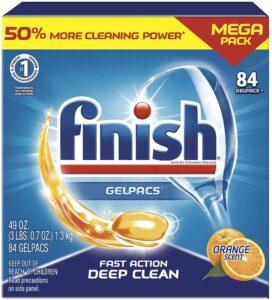 picture of Finish Gelpacs Dishwasher Detergent, Orange Scent, 84 Count, Sale