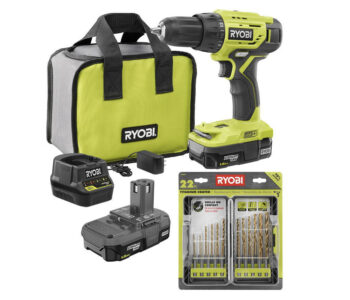 picture of RYOBI ONE+ Drill/Driver Kit w/  Batteries, Charger, Bag & Drill Bit Kit