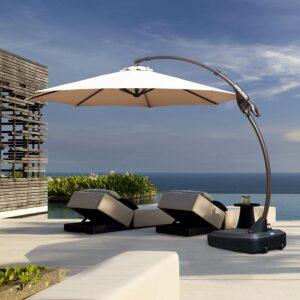 picture of Grand Patio Deluxe 11' Napoli Curvy Aluminum Offset Patio Umbrella w/ Base