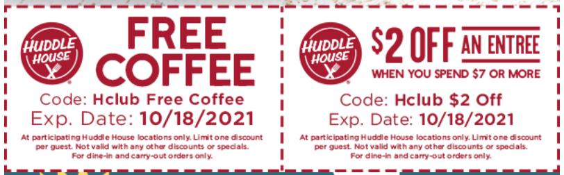 Huddle House Coupon